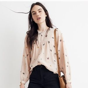 MADEWELL Butterfly Balloon Sleeve Peasant Top